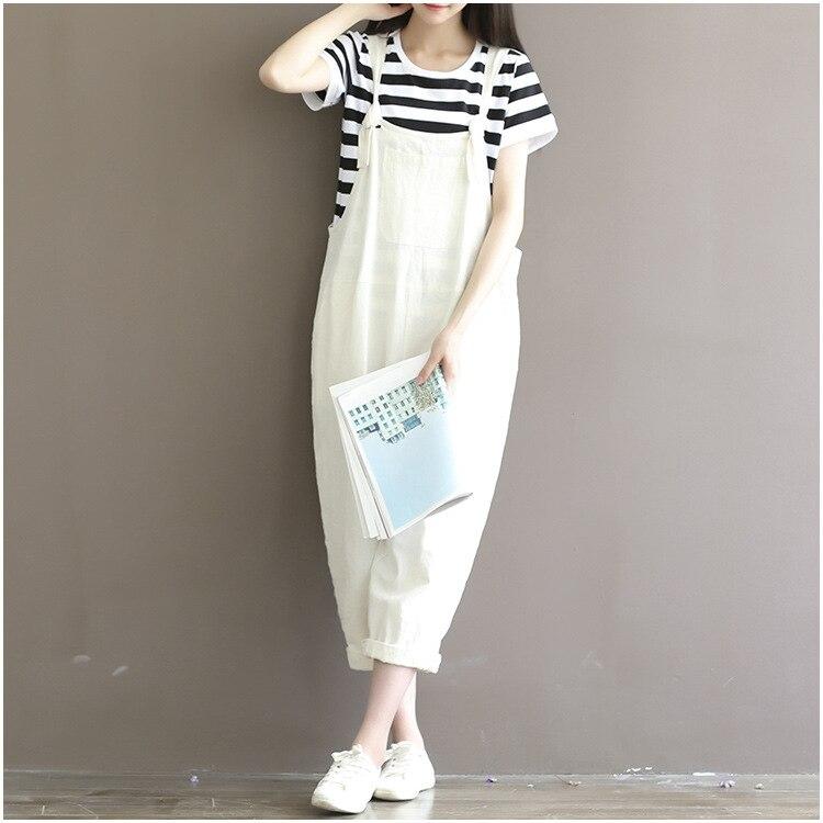 Women Casual Loose White Cotton Linen Jumpsuits Female Cute Overalls leisure Maxi Wide leg pants Plus Size Troursers