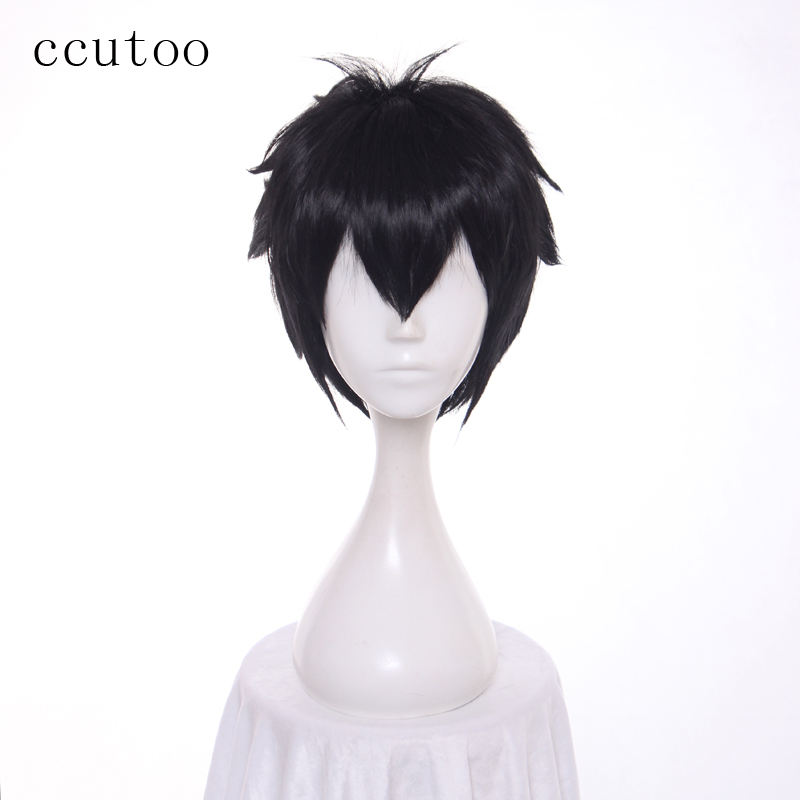 ccutoo 30cm Seraph of the End Yuichiro Hyakuya Black Short Fluffy Layered Synthetic Hair For Mens Halloween Cosplay Wig ...