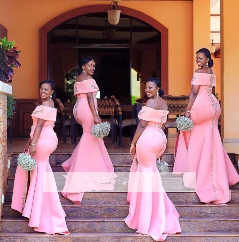 Pink 2019 Cheap   Bridesmaid     Dresses   Under 50 Mermaid Off The Shoulder Satin Long Wedding Party   Dresses   For Women