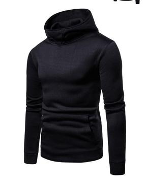 Men Long Sleeve Solid Color Hooded Sweatshirt 1