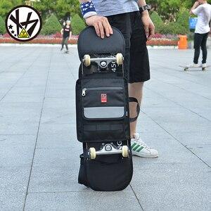 Image 3 - MACKAR 30x23x4cm bolsas para monopatín 1000D Cordura Nylon camuflaje Skate mochilas 900D polieter Oxford negro doble bolsa de balancín