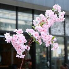 yumai 100 cm Sakura Silk Artificial Flowers Cherry Blossoms Dense Branches Wedding Background Wall Hanging Decor Faux Flower bedspread ethel silk mediterranean style size 180 220 cm faux silk 100% n a