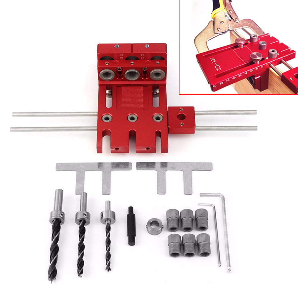 Aluminium Alloy Woodworking Drill Guide Locator Doweling Jig For DIY Joinery System Hole Puncher Kit pocket hole jig drill guide hole positioner locator with clamp woodworking tool kit suitable for joining panel furniture