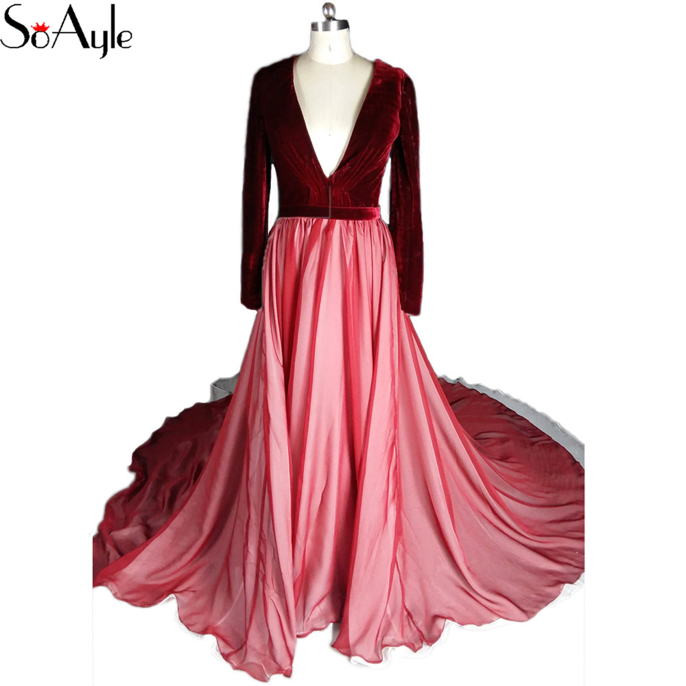 Soayle A Line Deep V Neck 2018 Plus Size Velvet Prom -9322