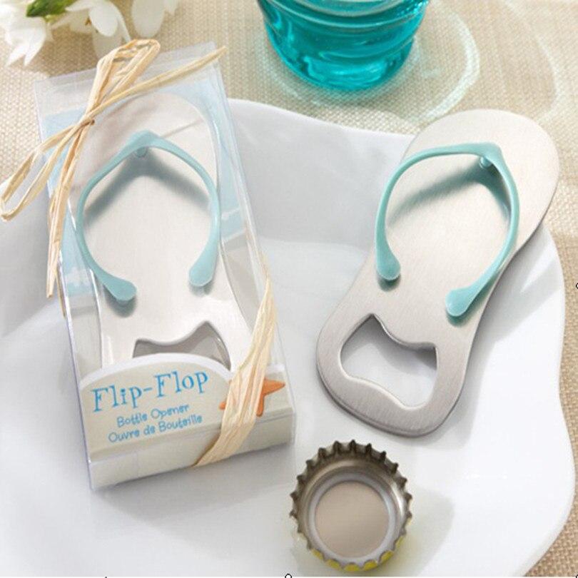 40pcs lot Creative novelty items flip flops bottle opener wedding favors gift packaging giveaways for guest