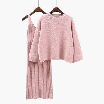 Осень женский свитер г. 2018 + Straped платье наборы для ухода за кожей сплошной цвет женский повседневное двойка Костюмы свободный свитер вязан