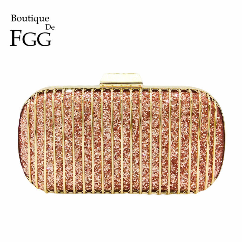 Boutique De FGG Pink Glitter Women Fashion Handbag Metal Day Clutches Purse Chain Shoulder Crossbody Evening Party Clutch Bag glitter decor chain crossbody bag