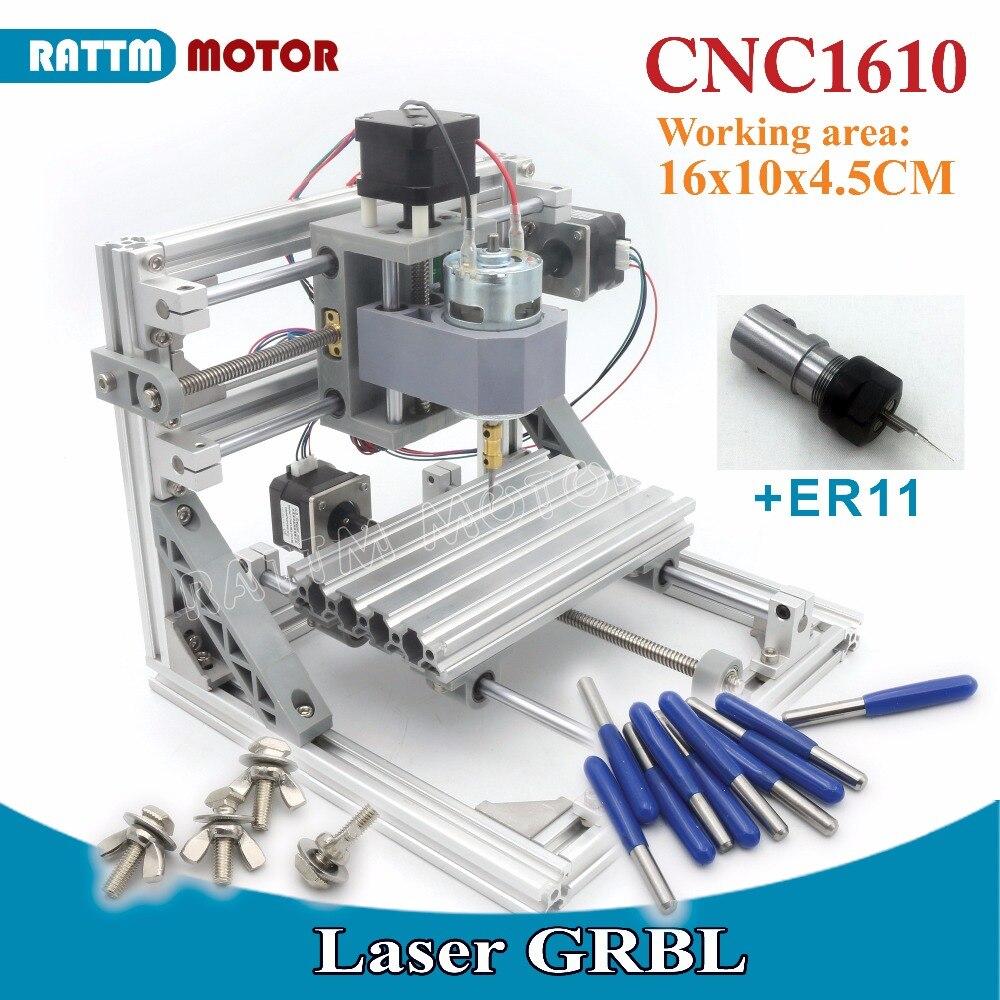 Navire RUS/ue! 1610 GRBL contrôle bricolage mini CNC machine zone de travail 160x100x45mm 3 axes Pcb fraiseuse, routeur en bois, v2.4