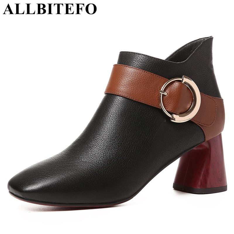 все цены на ALLBITEFO hot sale genuine leather thick heel women boots new winter snow boots high heels ankle boots women girls shoes онлайн