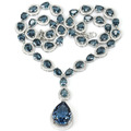 Big Gemstone Drop London Blue Topaz, White CZ Created SheCrown Woman's Wedding   Silver Necklace 18 inch 47x19mm