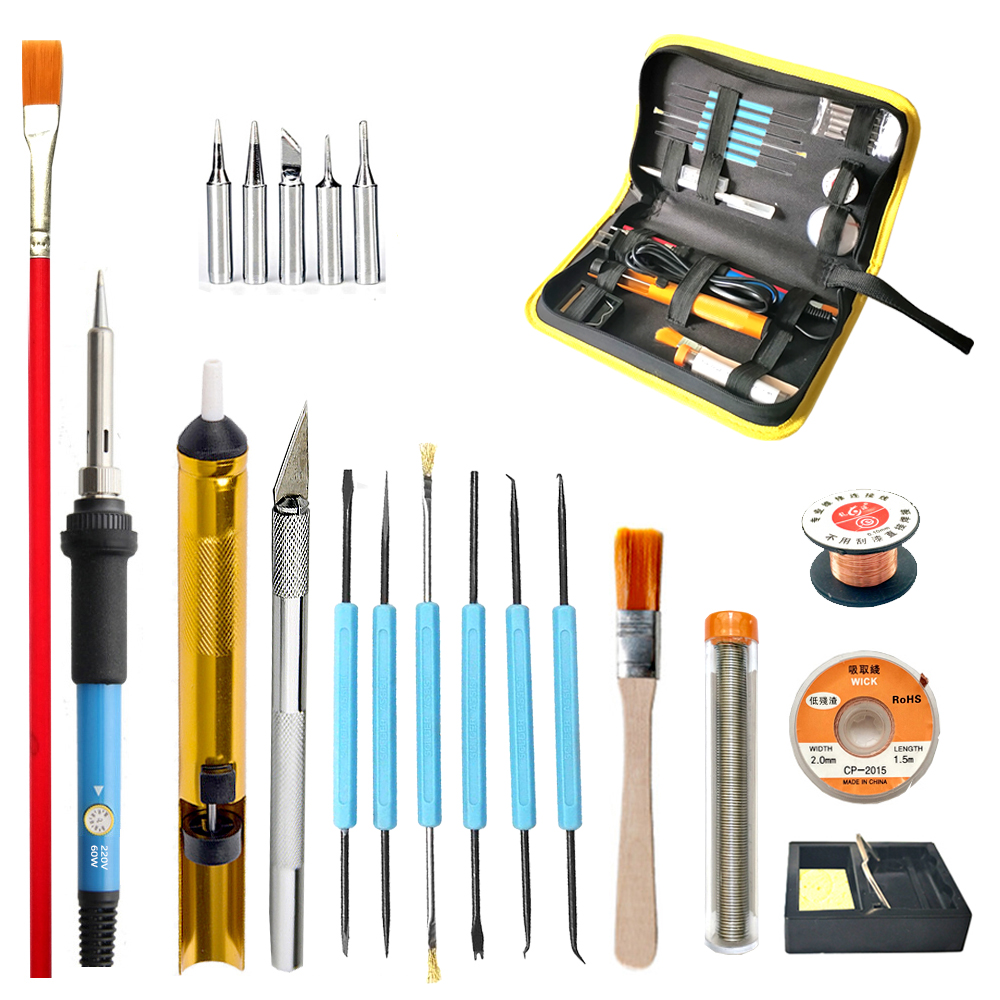 60W Electric Iron Adjustable Temperature Soldering Iron Knife Iron Head Welding Maintenance Multi-function Electric Iron Suit