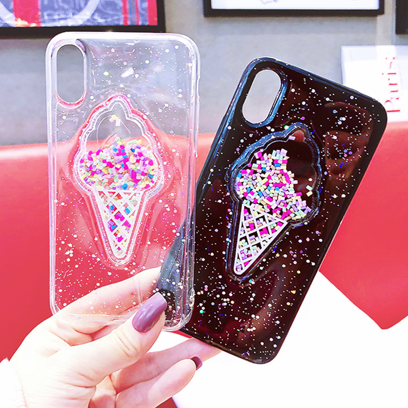 Transparent ICECREAM Style Full Protective Bling Glitter Case For Samsung Galaxy S7/S8 Plus/S9 Plus
