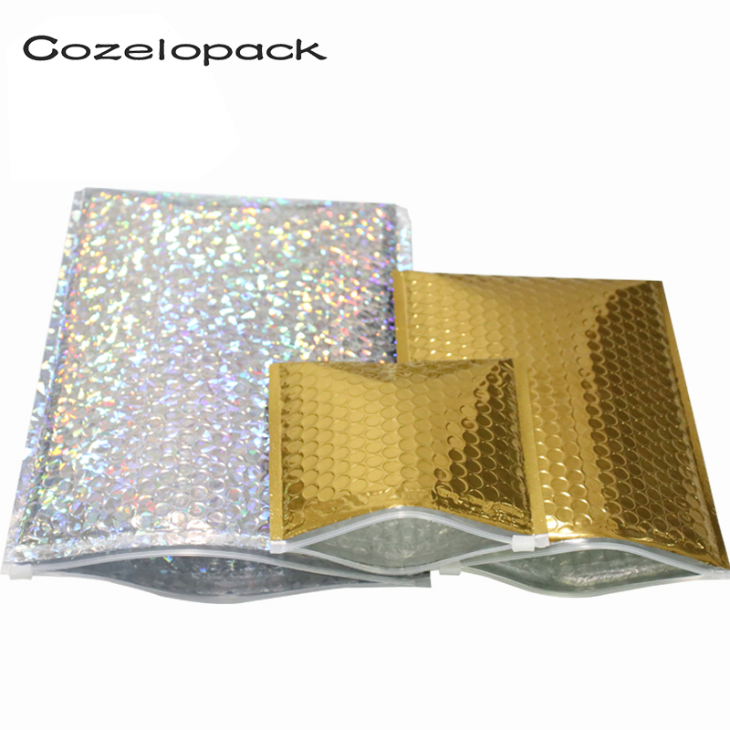 10pcs/pack Aluminized Foil Metallic Bubble Mailer With Zip Lock