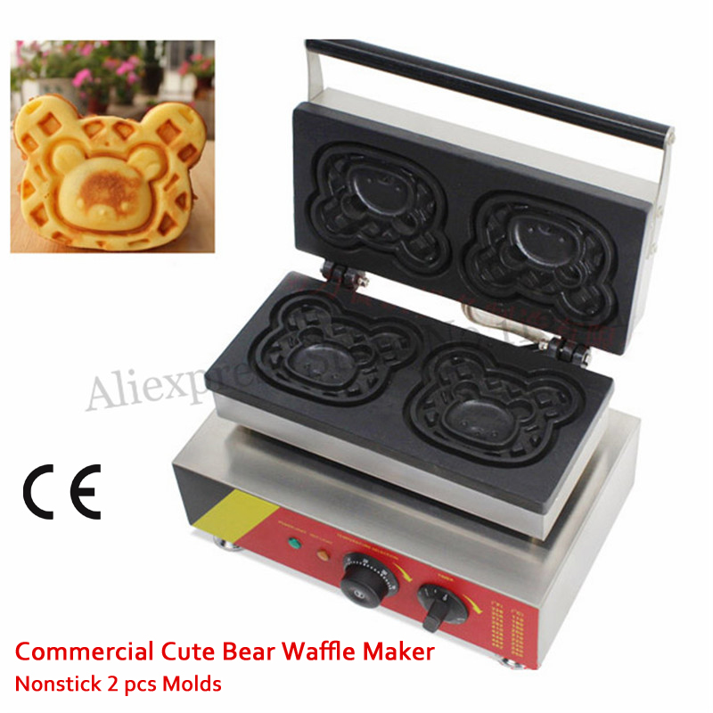 Commercial Cute Bear Waffle Maker Non-stick 2 Molds Cake Machine 1500W Stainless Steel 220V 110V Snack Street Food Device fast food leisure fast food equipment stainless steel gas fryer 3l spanish churro maker machine