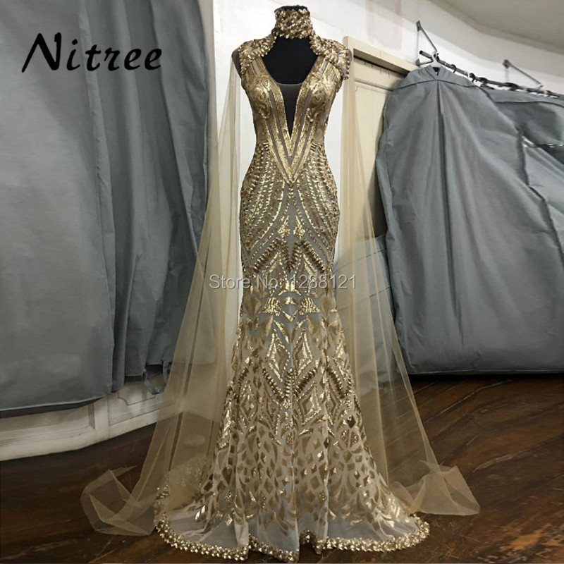 African Gold Sequins Evening Dresses With Jacket Dubai Turkish Aibye Gowns Galajurk Mermaid Formal Party Abendkleider Prom Dress Платье