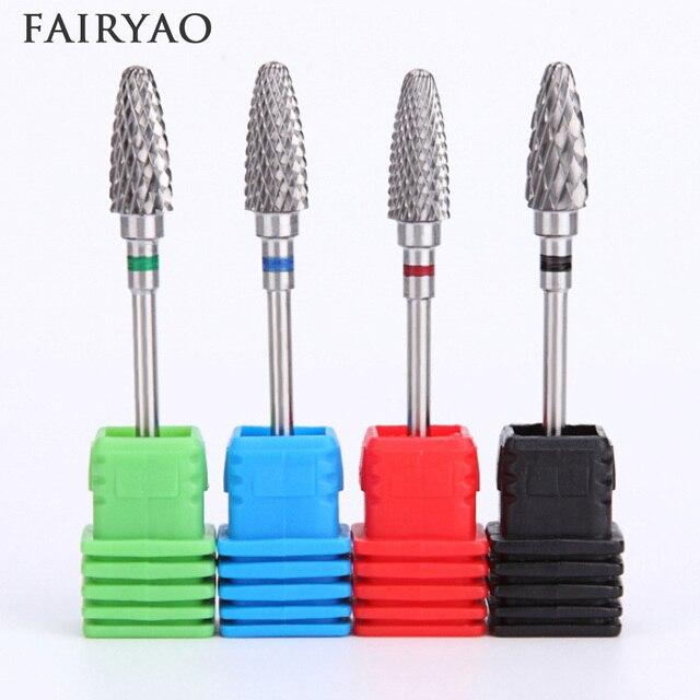 Brocas de carburo de tungsteno para uñas, herramienta artística para torno eléctrico para manicura, 5 tipos