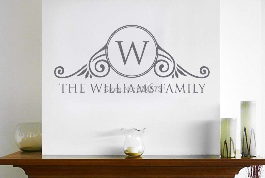 Personalised wall decor stickers : Personalised family name surname sign wall art stickers