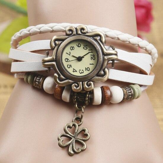 Fashion Women Bracelet Vintage Weave Wrap Quartz Cow Leather Clover Beads Wrist Watches lady watch Relojes Mujer kow065
