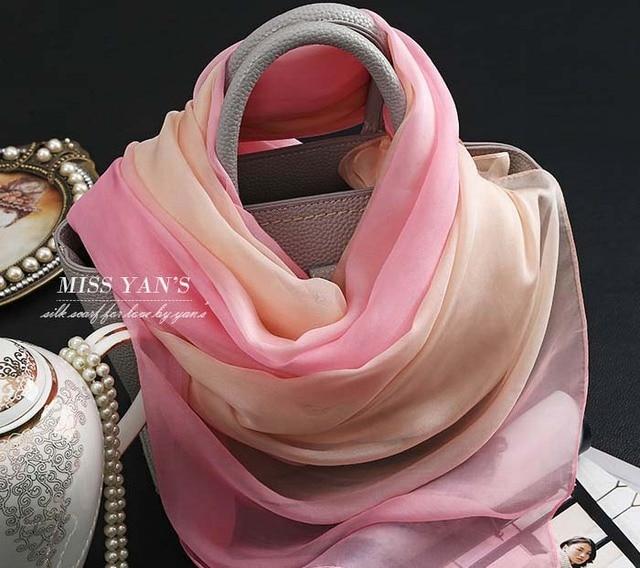 Pink Gradient 100 Silk Shawl wholesale women viscose hijab Underscarf Caps Swim Newborn  Wrap Silk Chiffon Scarf Tubular Bandana