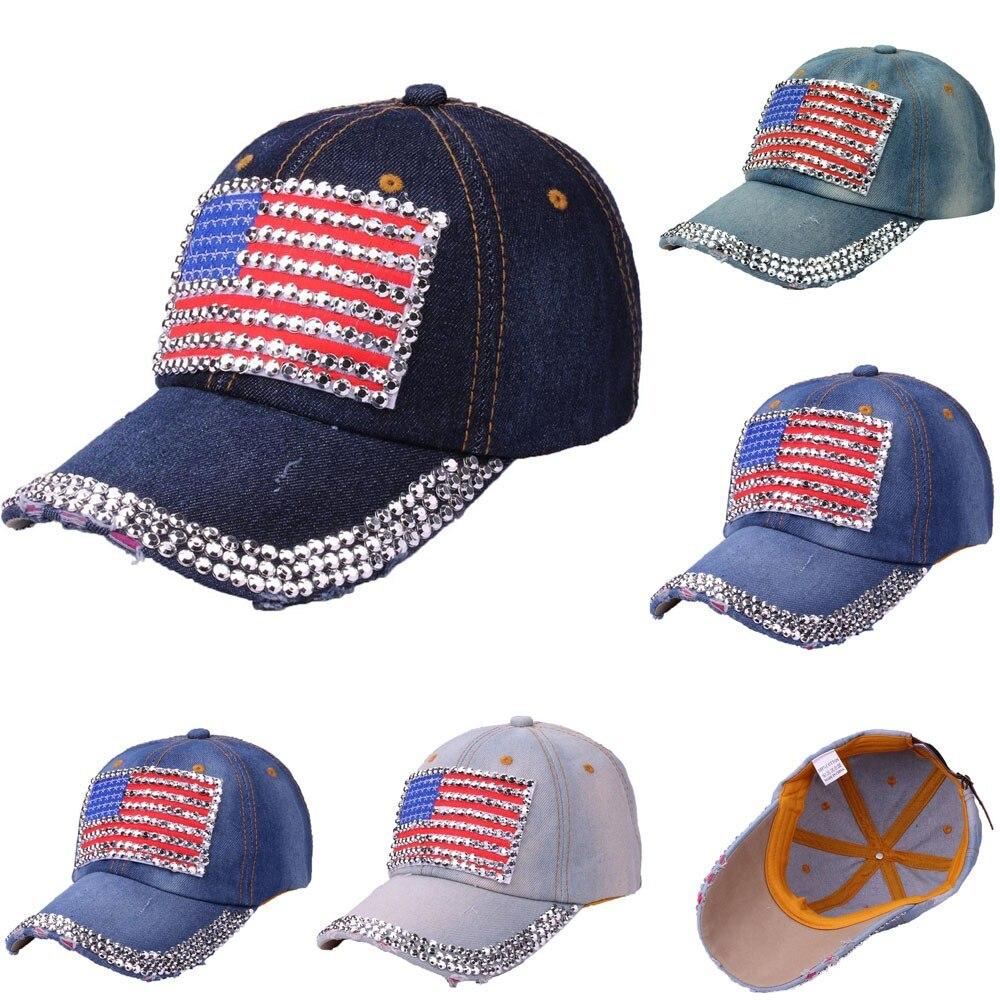 2019 Sommer Mode Baseball Kappe Frauen Amerikanischen Flagge Strass Jeans Denim Baseball Einstellbare Bling Hut Kappe Und Verdauung Hilft