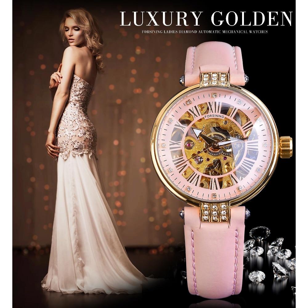 Forsining rosa senhora diamante relógio automático feminino