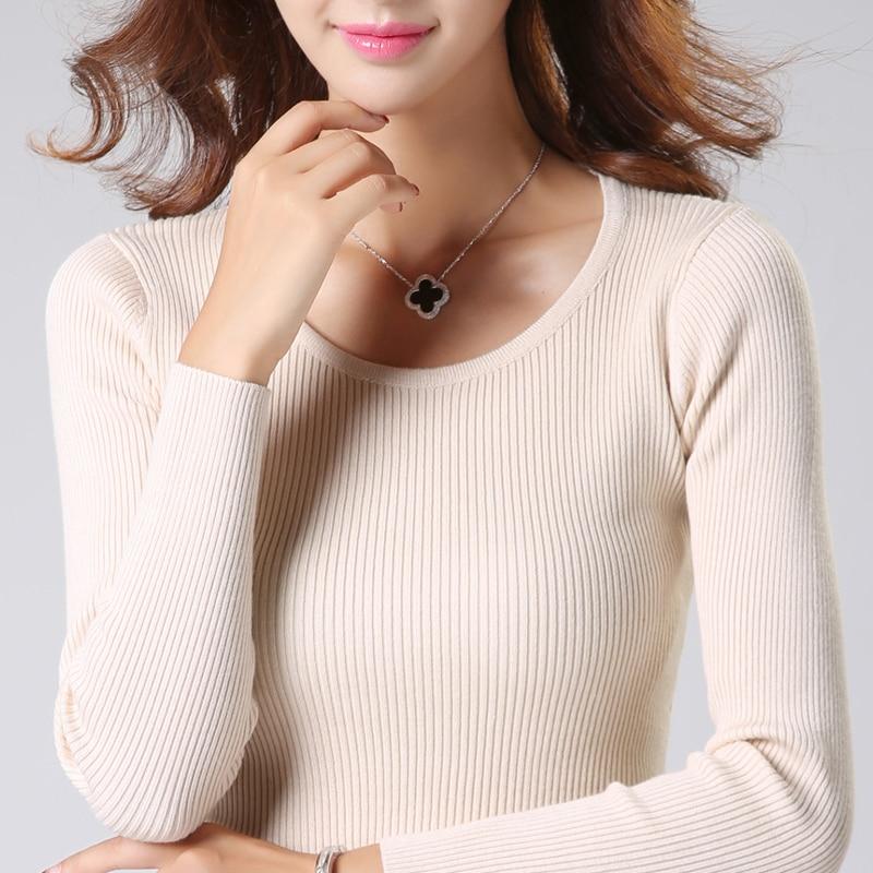 2019 nieuwe vrouwen pullover truien o-hals slanke dieptepunt gebreide truien mode hoge elastische vrouwelijke trui shirts gebreide tops