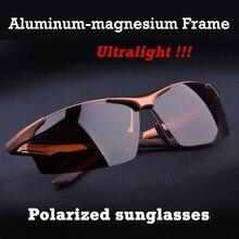 Gafas de sol polarizadas para hombre, lentes de sol masculinas de aleación de magnesio y aluminio, adecuadas para conducir, a la moda