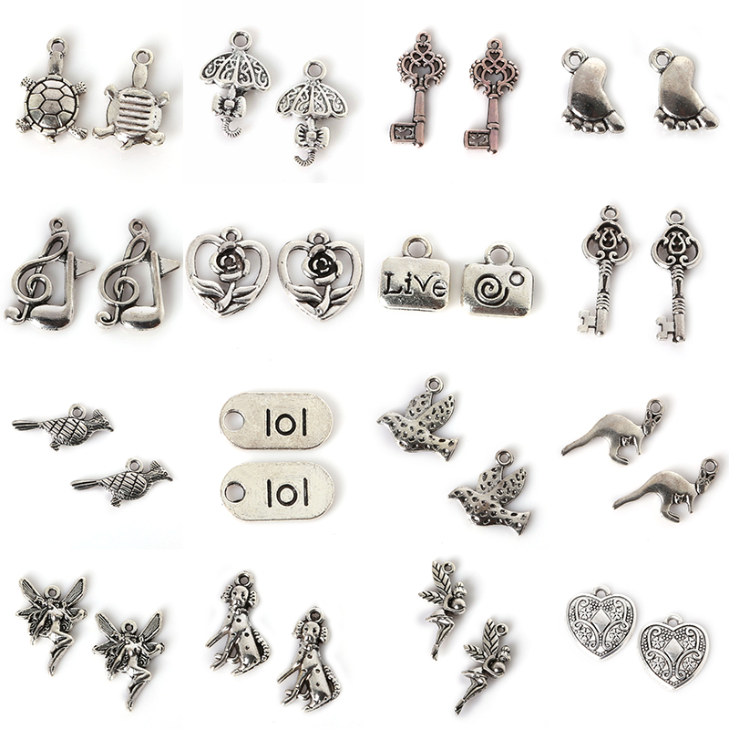 10Pcs Mix Size Types Antique Silver Color European Bracelets Charm Pendants Fashion Jewelry Making Findings DIY Charms Handmade jewelry making
