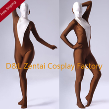 Free Shipping DHL Sexy Women Coffee And White Lycra Spandex Zentai Suits Skin Tight Bodysuit One