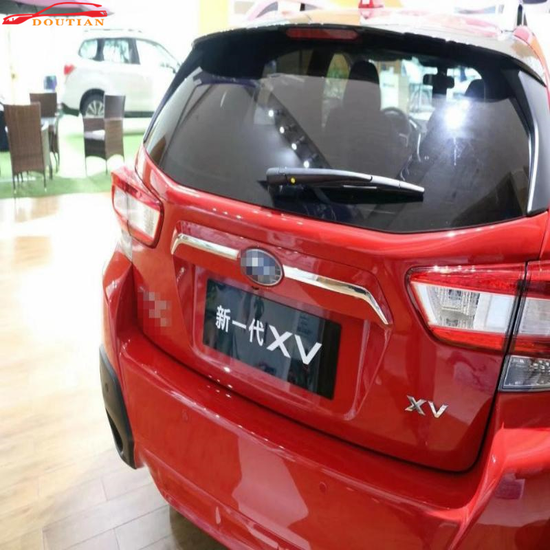 Car Styling For Accessories Subaru XV 2018 Chrome Rear Trunk Streamer Abs Car Sticker Rear Trunk Tailgate Door Strips Cover 2pcs car styling for accessories subaru xv 2018 chrome door side moulding cover trim sticker car stickers side door streamer 4pcs set