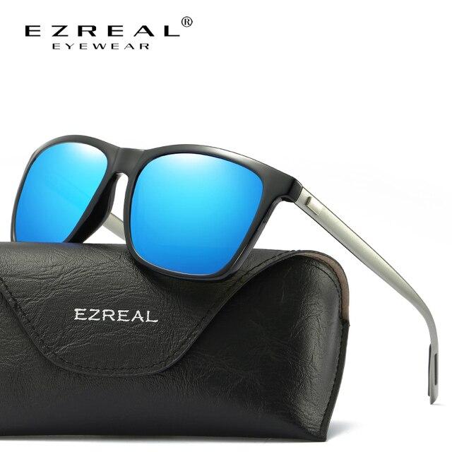 EZREAL Marca Clássicos Óculos Polarizados Homens Condução Quadrado Preto  Quadro Óculos Masculinos Óculos de Sol Para 5239901b65