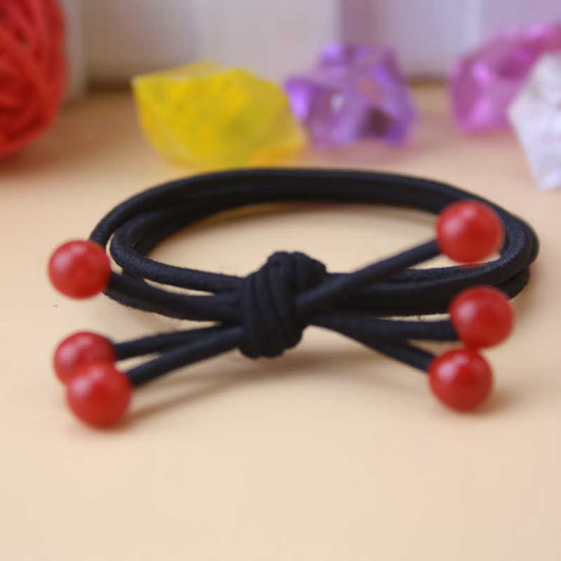 New Hair Circle Fashion Popular Bowknot High Elastic Head Rope Wholesale 6 Red Bead Female Hair Band Hot Sale Jewelry Wholesale