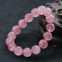 fine jewelry Natural Pink round bead Bracelet Charm Bangles For Women popular gift Jewelry/