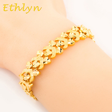 Ethlyn 20cm*10mm women romantic Heart  bracelet jewelry  Gold color Dubai/Ethiopian/African women gift  jewelry  B49B