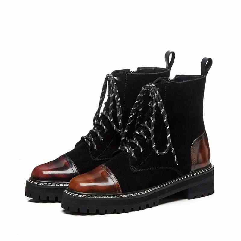 Krazing pot 2019 couro genuíno med saltos redondos dedo do pé do pé do punk botas de motocicleta mulheres superstar party gradiente cor ankle boots l91