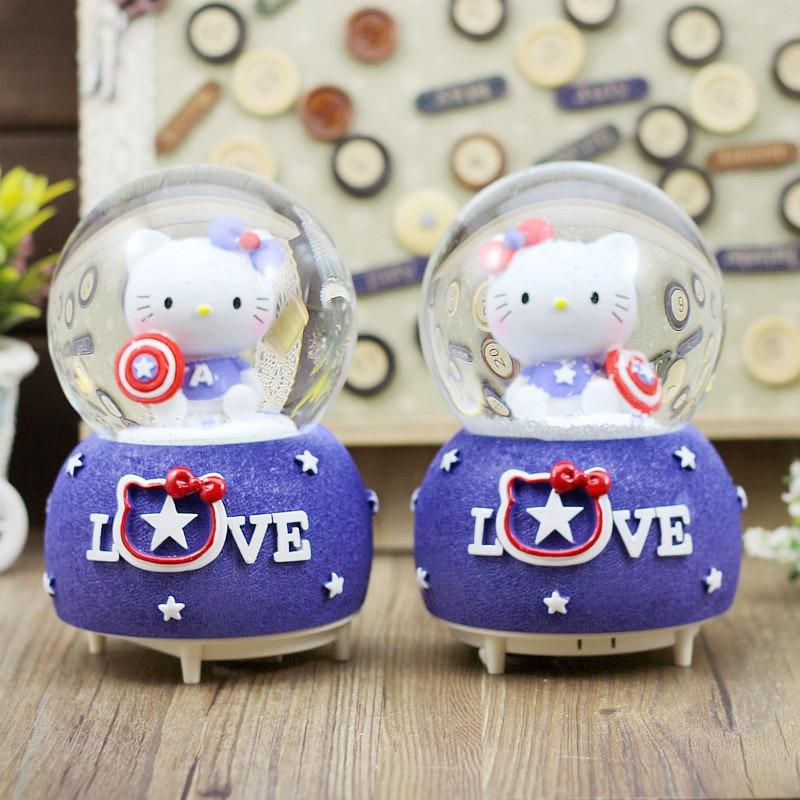 Hello Kitty LED Light Crystal Ball Music Box Rotary snow globe Music Boxes Swivel carrossel Music Box para Princess Girl gift