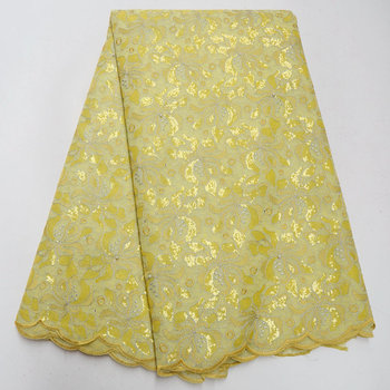 yellow african organza lace fabric 2018 high quality french lace with sequins beaded fabric for women dresses 5yard/lot