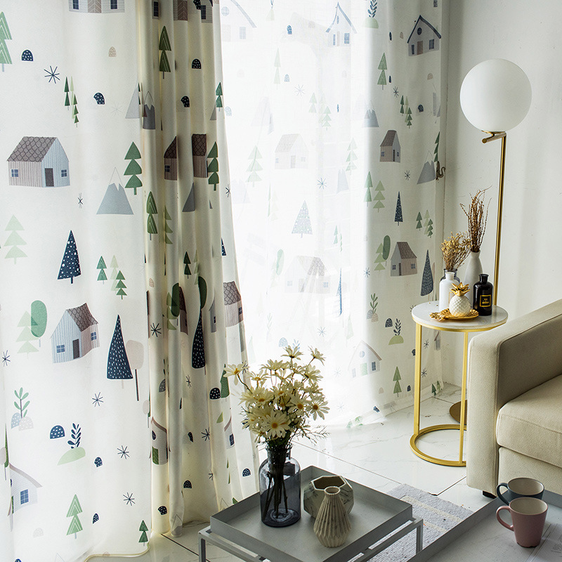 1PC Simple Modern Nordic Curtains For Living Room Cartoon House Curtain For Bedroom Children's Room Cotton Hemp Kids Curtains