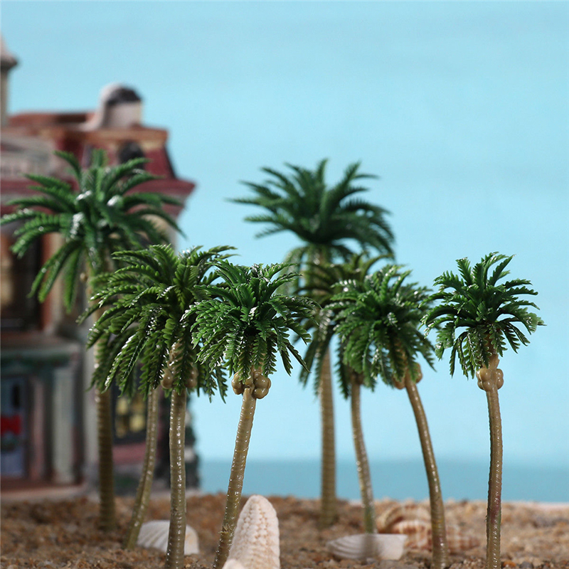 US $4 6 33% OFF|3pcs Plastic Model Coco Palm Tree Rainforest Beach Diorama  Landscape Home Decoration Accessories-in Figurines & Miniatures from Home &