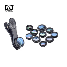 Cheaper APEXEL DG10  Phone camera Lens Kit Fisheye Wide Angle macro Lens CPL Filter Kaleidoscope and 2X telescope Lens for smartphone