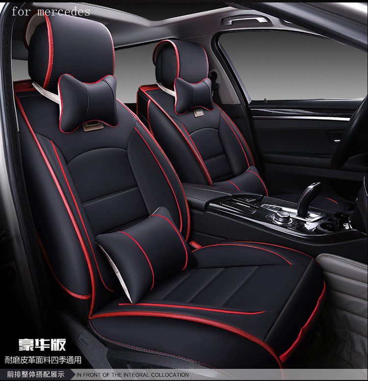 buy for benz mercedes w203 w204 w211 ml300 red black waterproof soft pu leather. Black Bedroom Furniture Sets. Home Design Ideas