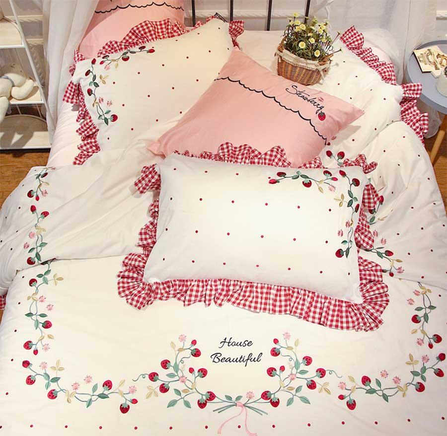 Caractère fraise ensemble de literie enfant adolescent fille, plein reine roi double bande dessinée textile de maison drap de lit taie d'oreiller couette couverture