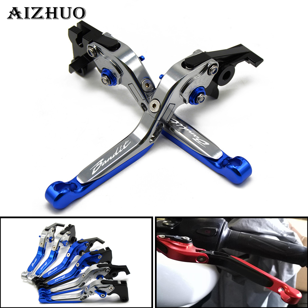 For Suzuki GSF 650 1200 1250 Bandit With LOGO Motorcycle Clutch Brake Lever Aluminum Extendable Adjustable Foldable Levers cnc adjustable motorcycle billet foldable pivot extendable clutch page 1