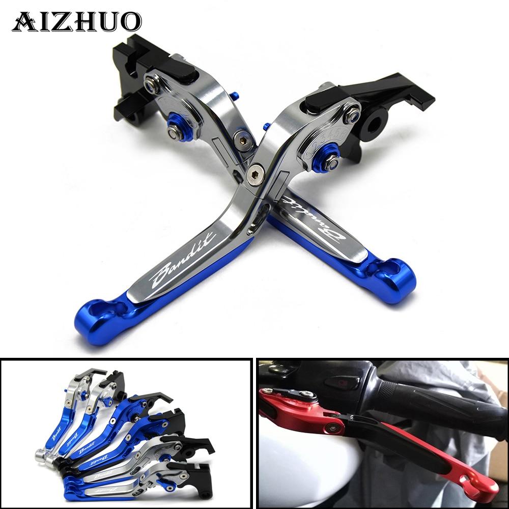 For Suzuki GSF 650 1200 1250 Bandit With LOGO Motorcycle Clutch Brake Lever Aluminum Extendable Adjustable Foldable Levers рычаги т��осики и кабели для мотоцикла folding extendable brake clutch levers sv650 1000 gsf650 1200 1250