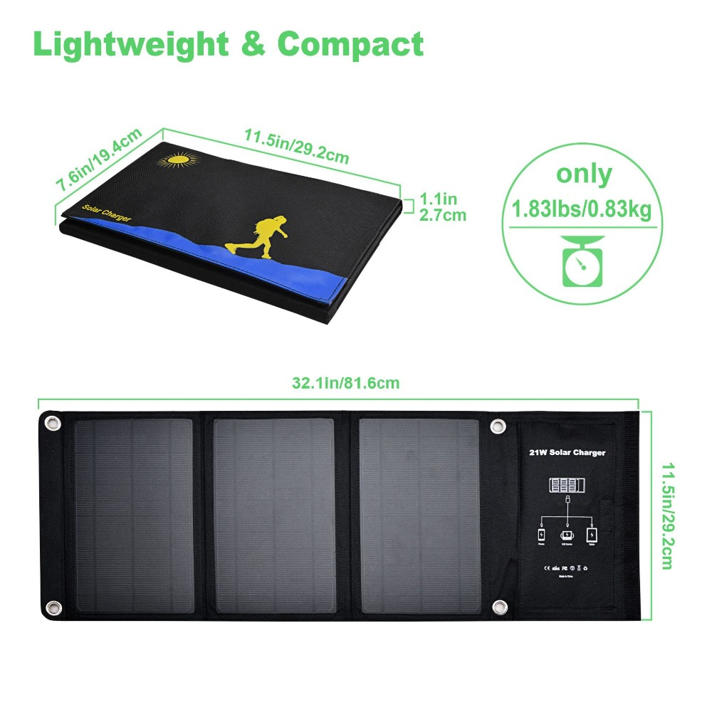 Solar charger 21W Solar Panel with Dual USB Port Waterproof Foldable Solar Cells for Smartphones Tablets