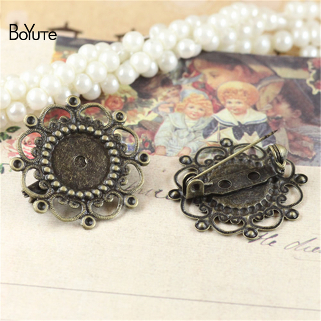 85b592663 BoYuTe 20Pcs Round 12MM Cabochon Brooch Base Antique Bronze Plated Vintage  Diy Jewelry Accessories
