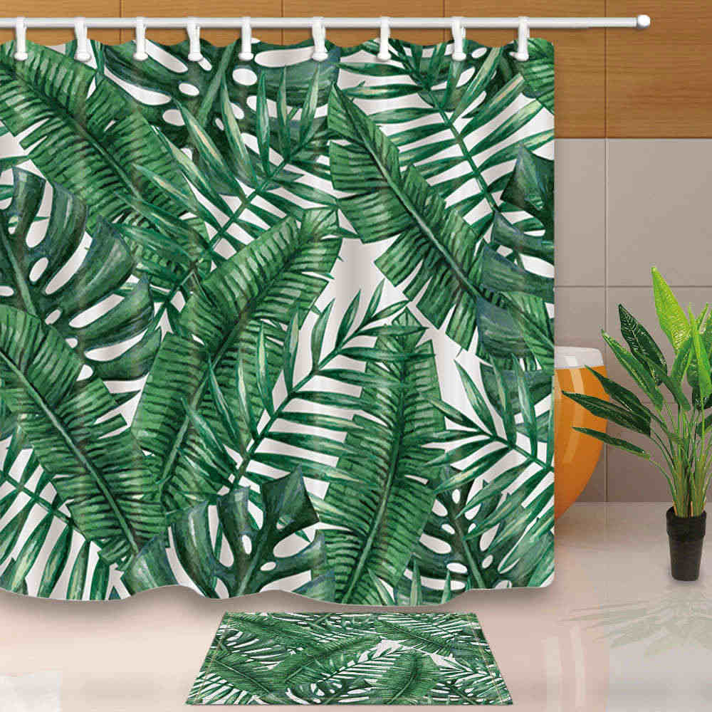 Leaves Shower Curtains Green Tropical Plants Bathroom Curtain Polyester on tropical garden bathroom, bamboo plant bathroom, tropical fish bathroom, tropical stone bathroom, tropical design bathroom,