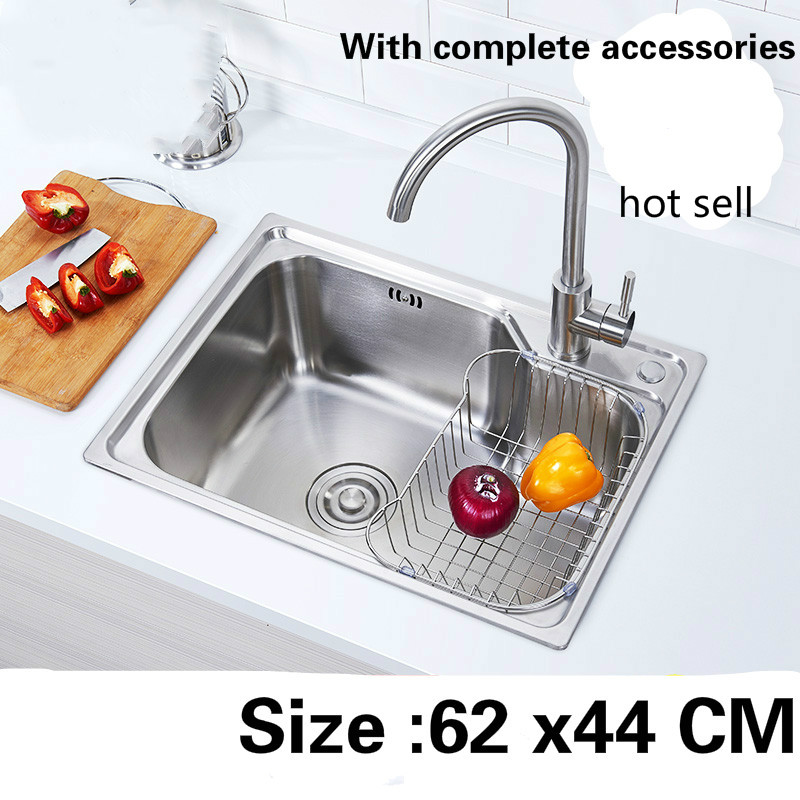 Free Shipping Food Grade 304 Stainless Steel Kitchen Sink 0.7 Mm Ordinary Single Slot Washing Bowl Hot Sell 62x44 CM