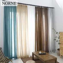 NORNE Decorative Solid Semi Sheer Curtain Tulle Voile Panel for Window Kitchen Living Room Bedroom Door Curtains (Lead Blocks) norne embroidered semi white voiles peacock feathers tulle sheer curtains for living room kitchen drape treatment for bedroom