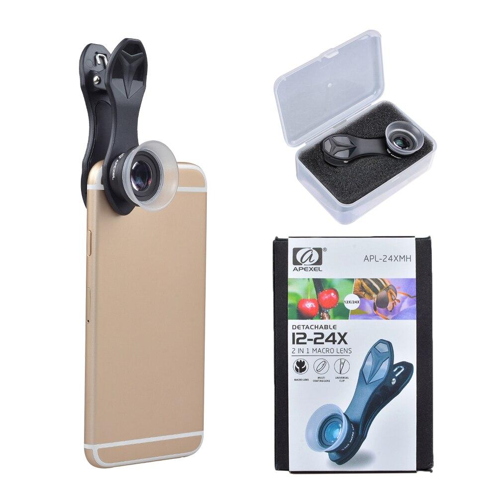 Apexel lente do telefone móvel lente Super Macro 12X 24X Lentes da câmera para o iphone x 7 8 PLUS Xiaomi Samsung note8 s8 s7 borda lente com clipe